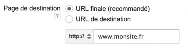 url de destination Adwords