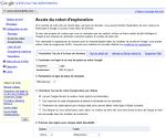 Login et mot de passe pour Google pour accéder à la base de données du site