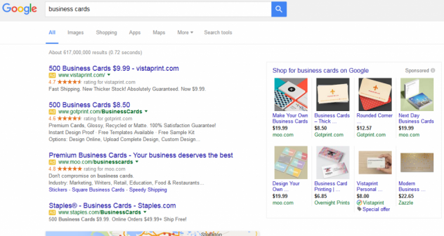 AdWords : 4 pubs en haut et Google Shopping