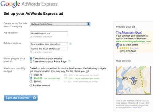 Le formulaire de création de compte Adwords Express