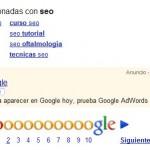 Dans une publicité AdWords,Google déconseille le référencement naturel !