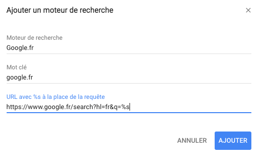 Ajouter Google à Chrome