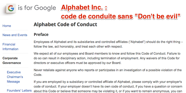Code de conduite Alphabet Inc.
