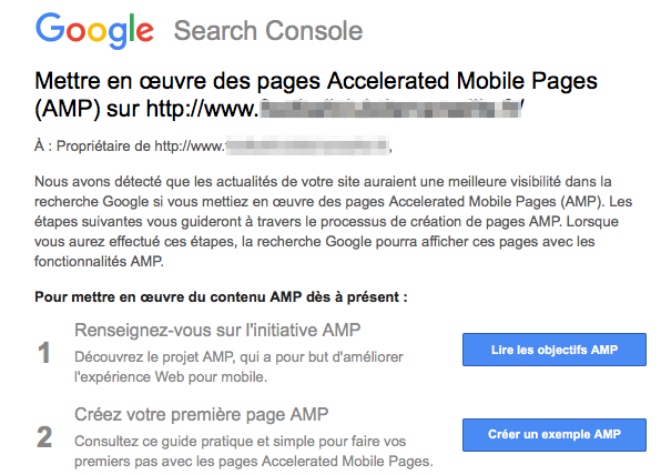 AMP : message Search Console