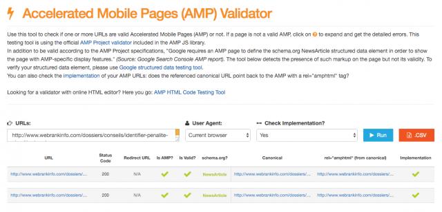 Outil de validation AMP