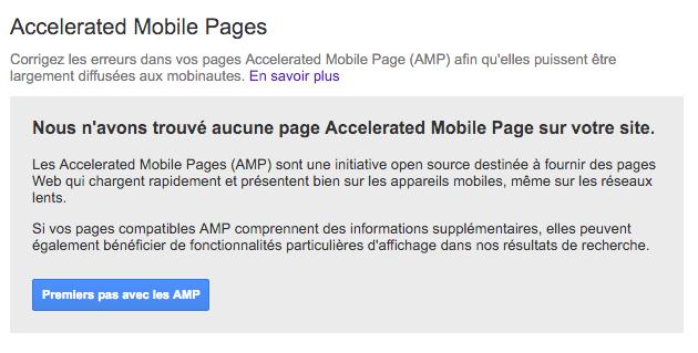AMP Search Console aucune page