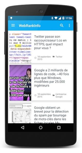Listing d'articles appli smartphone
