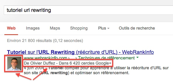 vignette auteur dans SERP Google