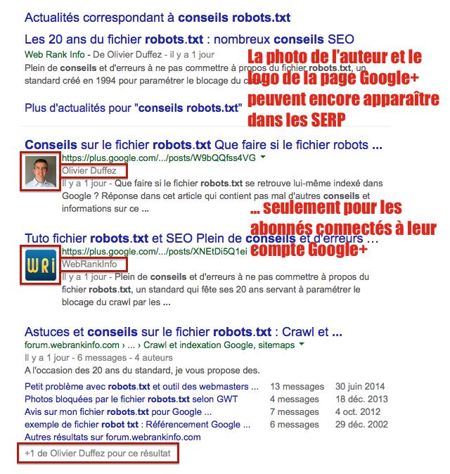 Authorship: photo SERP pour internautes Google Plus