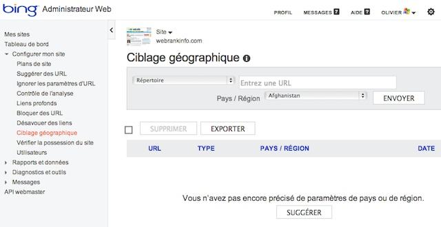 Ciblage géographique dans Bing
