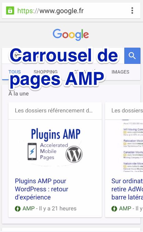 Exemple de carrousel pages AMP dans les résultats mobiles de Google