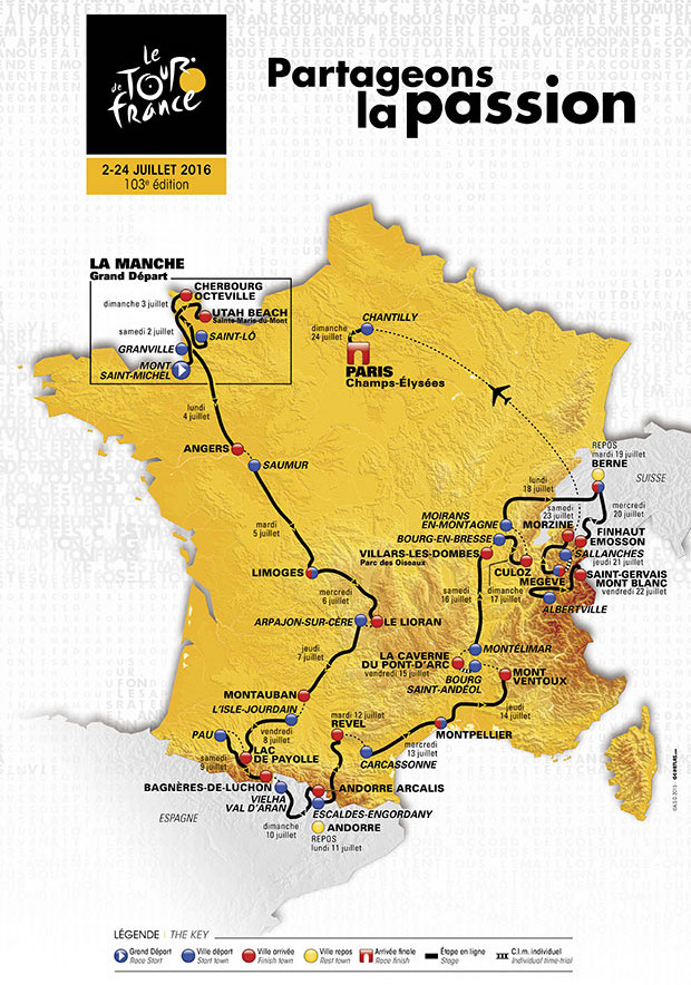 Carte officielle Tour de France 2016