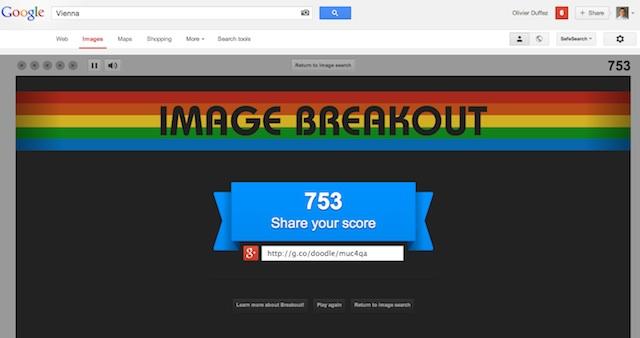 Partage du score casse-briques Google Images