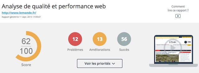 Synthèse du rapport de performances Dareboost