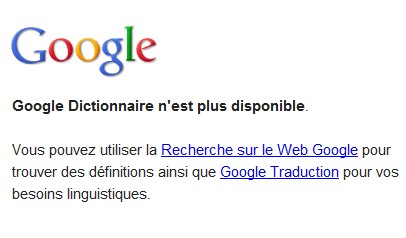 Fin du dictionnaire Google