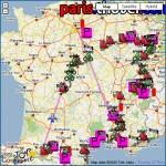 Parcours du Tour de France 2009 dans Google Earth: itinéraire, carte 3D, villes étapes