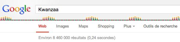 Des décorations des SERP Google pour Kwanzaa