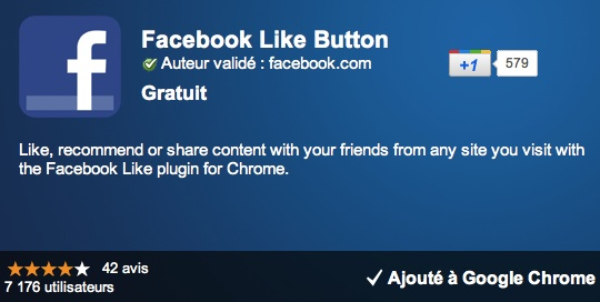 Extension Google Chrome : bouton Like Facebook