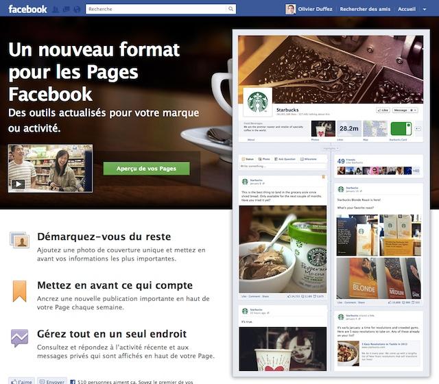 Facebook: le nouveau mode timeline des pages