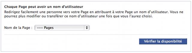 Formulaire nom d'utilisateur fan page Facebook