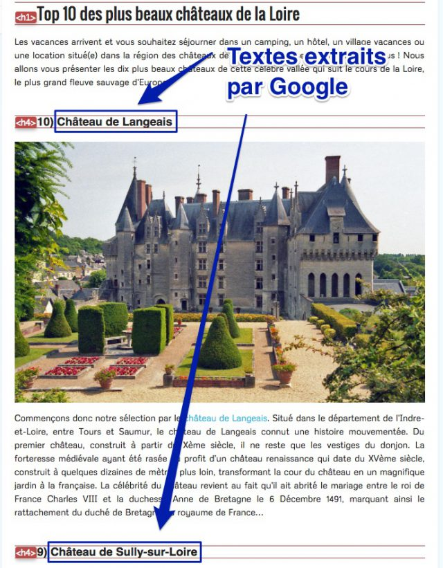 Extraction de texte Featured Snippets