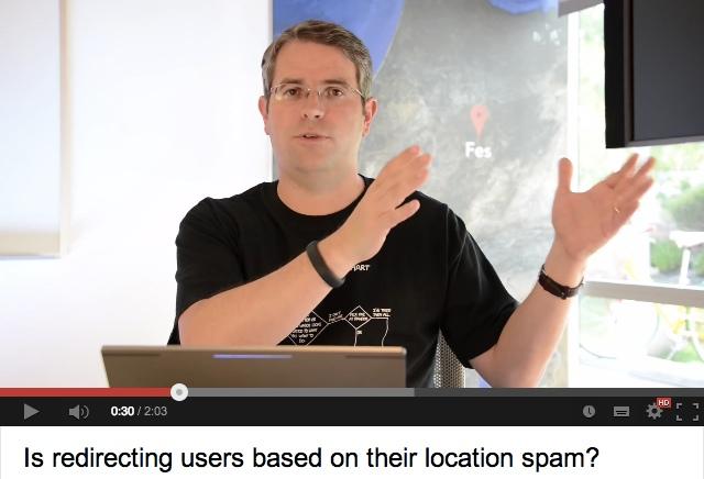 redirection via géolocalisation autorisée par Google