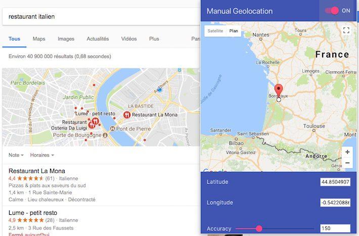 Géolocalisation manuelle extension Chrome
