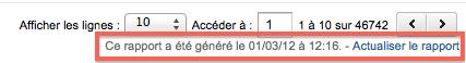 Google Analytics: date du cache pour le rapport