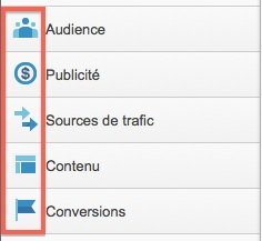 Google Analytics : icones pour le menu