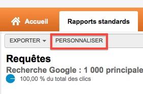 Google Analytics : personnaliser un rapport standard