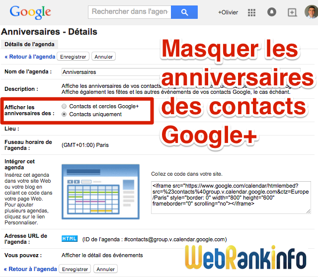 Calendrier anniversaires contacts Google