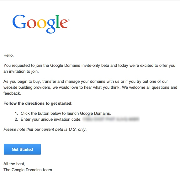 Invitation Google Domains