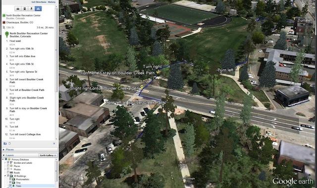 La recherche d'itinéraire dans Google Earth version 2012