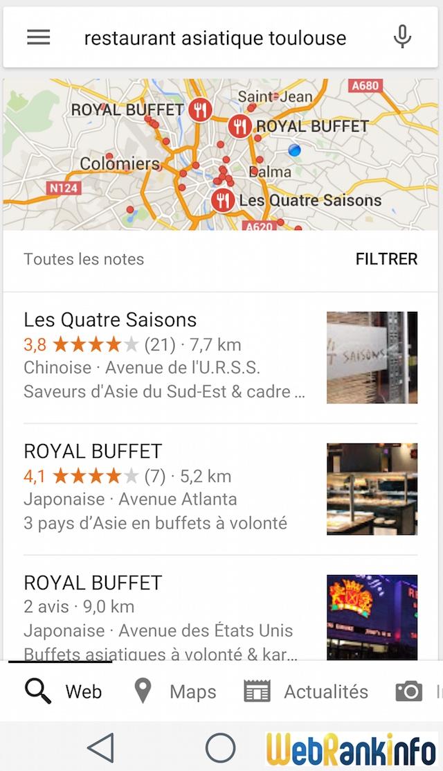 Nouvelle version de l'affichage du bloc local dans les résultats Google (août 2015)