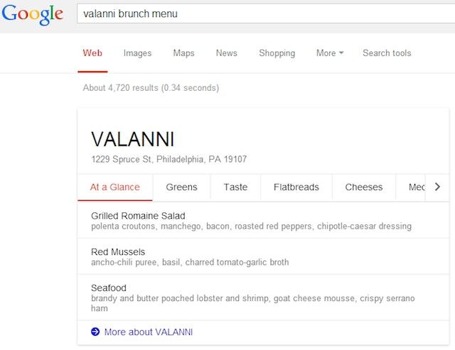 Google menu restaurant