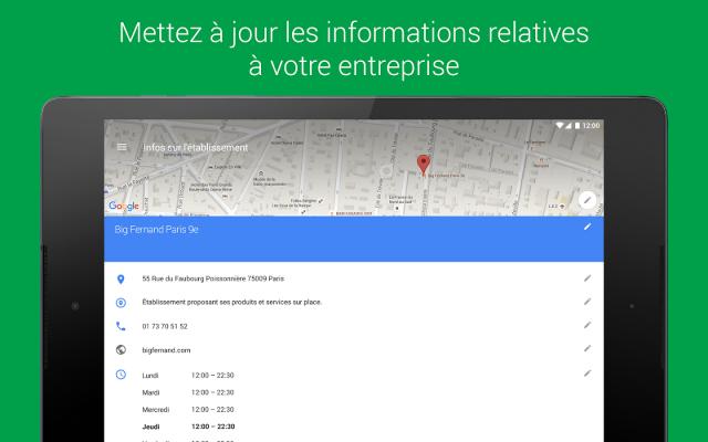 Mise à jour des infos dans Google My Business (appli)