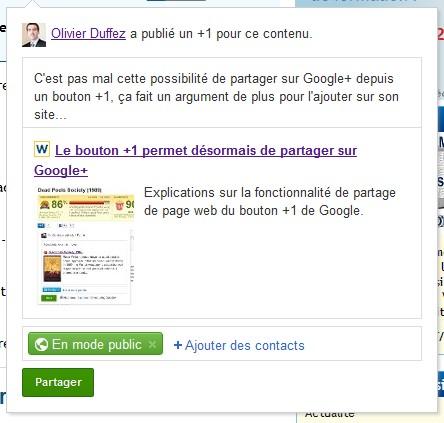 Exemple de partage de page vers Google+ avec le bouton +1 de Google