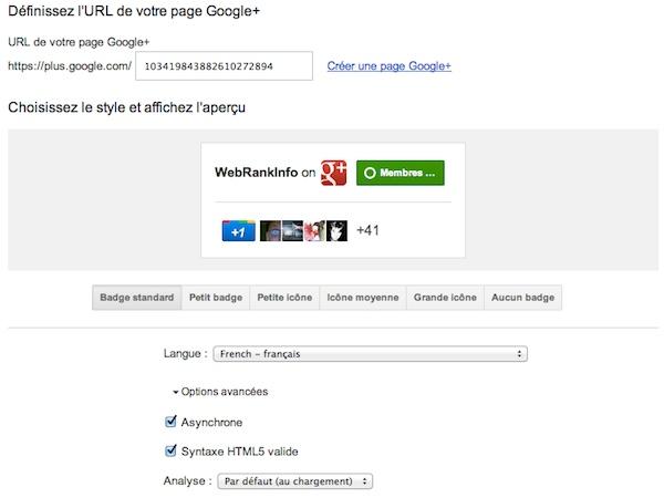 Formulaire badge page Google Plus