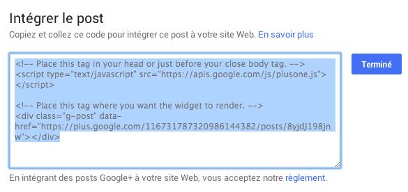Code d'intégration de post Google Plus