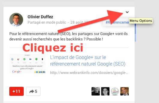 Accès au menu déroulant d'un post Google+