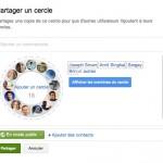 Google+ permet le partage de cercles (groupes de contacts)