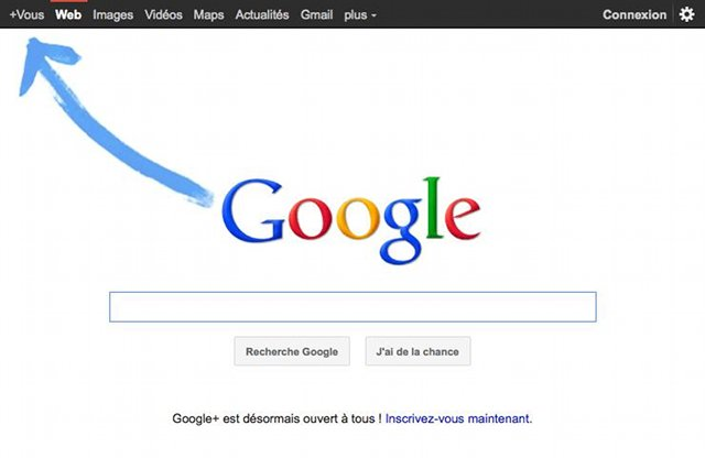 La promo de Google Plus en homepage Google