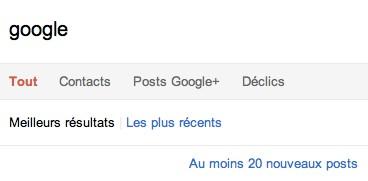 Google Plus: recherche temps réel