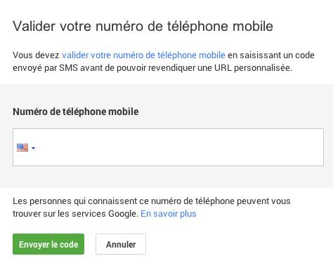 URL personnalisee: numéro téléphone mobile