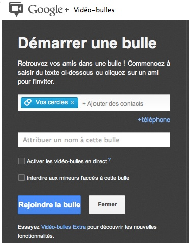 Configuration video bulle en direct Google Plus