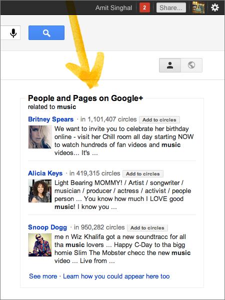Mise en avant de profils Google+ ou pages Google+ populaires