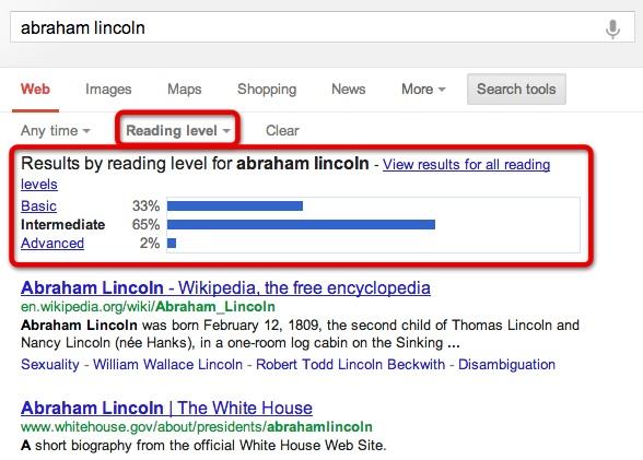 Recherche Google par niveau de lecture