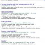 Test sur les SERP Google : des sortes de listes ou menus dans les snippets