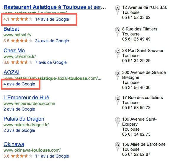 Les avis dans Google Local