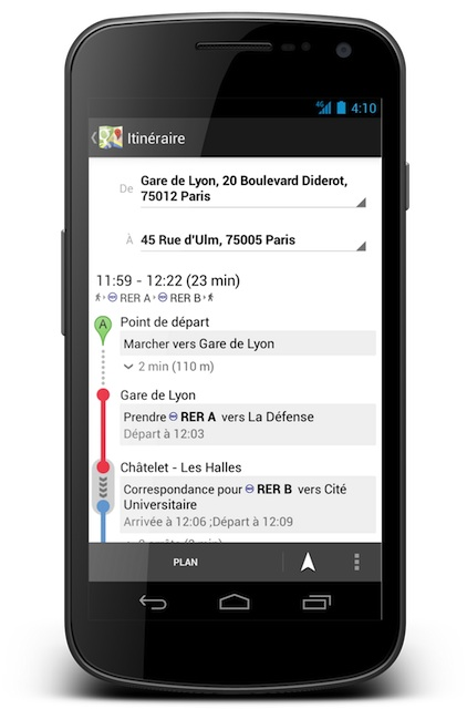 Google Transit à Paris sur mobile